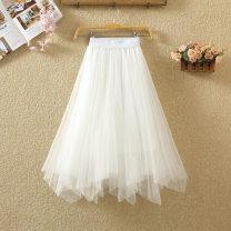 skirt Spring 2021 Average size White, black, light gray, dark gray, khaki, apricot, blue, pink Mid length dress commute High waist Fluffy skirt Solid color Type A 9568# Other / other Asymmetry, web Korean version