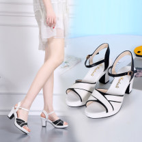 Sandals 33,34,35,36,37,38,39,40,41,42 Off white, white black head, black white head Superfine fiber Kareni Barefoot Slope heel Middle heel (3-5cm) Summer of 2019 Flat buckle comfortable Solid color Adhesive shoes Middle aged (40-60 years old), young (18-40 years old) rubber daily Rear trip strap PU