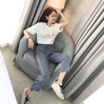 Casual suit Summer 2021 White top + Blue Grey striped pants, bean green top + black and white striped S [recommended 80-90 kg], m [recommended 90-100 kg], l [recommended 100-120 kg], XL [recommended 120-140 kg], XXL [recommended 140-160 kg] 18-25 years old 81% (inclusive) - 90% (inclusive)