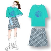 Fashion suit Summer 2021 Average size T-shirt, mesh shirt, plaid skirt 18-25 years old
