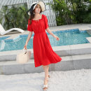 Dress Summer 2020 Red, yellow Mid length dress singleton  elbow sleeve Sweet One word collar High waist Socket Big swing pagoda sleeve 25-29 years old Type A Tuck, lace up 81% (inclusive) - 90% (inclusive) Silk and satin cotton Bohemia