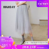 skirt Autumn of 2019 S M L light gray Mid length dress Versatile High waist A-line skirt Type A 25-29 years old More than 95% High day other Other 100%