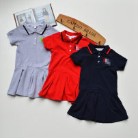 Dress Grey (back letter bar), red (back letter bar), Navy (back letter bar) female Amazing daisy Code 3a, code 4a, code 5a, code 6a, code 8a, code 10a, code 12a, code 14a, code 16A Cotton 100% summer leisure time Short sleeve stripe cotton A-line skirt Class A