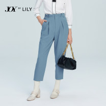 Casual pants 401 blue 122 pink 510 black 401 blue a 122 pink a 510 black a XS S M L XL Spring 2021 Ninth pants Overalls High waist commute routine 25-29 years old 51% (inclusive) - 70% (inclusive) 121109C5918 Lily / Lily polyester fiber Ol style zipper