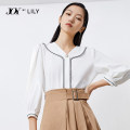 Lace / Chiffon Spring 2021 601 white 601 white a 155/80A/S 160/84A/M 165/88A/L three quarter sleeve commute Socket singleton  easy Regular V-neck puff sleeve 25-29 years old Lily / Lily 121129C8934601 Open line decorative button Ol style Polyester 100%