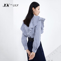 shirt 411 Tibetan blue 411 Tibetan blue a XS S M L XL Spring 2021 cotton 71% (inclusive) - 80% (inclusive) Long sleeves commute Regular Polo collar Single row multi button Flying sleeve stripe 25-29 years old Straight cylinder Lily / Lily Ol style 121159C4926411 Lotus leaf edge Brocade cotton