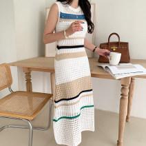 Dress Summer 2020 White, blue, black Average size longuette singleton  Big swing Gouhua hollow