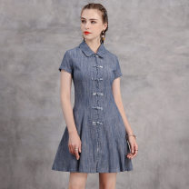 Dress Summer 2020 Gray blue S,XL,L,M Short skirt singleton  Short sleeve Polo collar High waist Solid color zipper A-line skirt routine Others 25-29 years old Type A Make old, pocket A82219 other