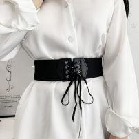 Belt / belt / chain other black female belt Versatile Single loop soft surface 6cm Tightness Aifanpin