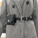 Belt / belt / chain Pu (artificial leather) black female belt Versatile Single loop Pin buckle other soft surface 2.4cm alloy Aifanpin