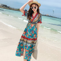 Dress Summer of 2019 Blue red blue neckline bead red neckline bead S M L XL XXL 3XL Mid length dress singleton  elbow sleeve Sweet V-neck High waist Decor Socket Princess Dress Flying sleeve Others 25-29 years old Type H Eurovalley OG19TS113 More than 95% Chiffon polyester fiber Polyester 100%