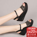 Sandals Gun color black three hundred and forty-three billion five hundred and thirty-six million three hundred and seventy-three thousand eight hundred and thirty-nine Pinen A variety of materials stitching Slope Summer of 2018 Open toe High heel (5-8cm) Korean version Pure color One-button buckle