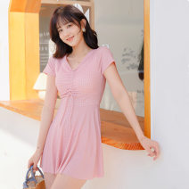 one piece  other S [recommended 80-90 kg], m [recommended 90-100 kg], l [recommended 100-110 kg], XL [recommended 110-120 kg] One piece flat corner swimsuit Steel strap breast pad Polyester, others female Short sleeve Casual swimsuit Solid, plaid backless