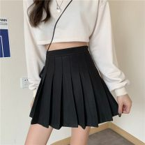 skirt Winter 2020 XS,S,M,L,XL,2XL,3XL Classic black [button zipper], classic white [button zipper], classic gray [button zipper], bandage black [button zipper], bandage white [button zipper], tweed black [elastic waist] Short skirt commute High waist Pleated skirt Solid color Type A 18-24 years old