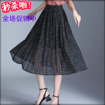 skirt Summer of 2019 Average size One, two, three, four Mid length dress Versatile High waist Type A Chiffon
