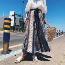 Casual pants Single trousers, single coat S. M, l, XL, suit Summer of 2018 Ninth pants Wide leg pants High waist commute Thin money polyester fiber Korean version