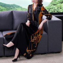 Dress Spring 2021 Main graph color M L XL 2XL 3XL Mid length dress singleton  three quarter sleeve commute V-neck Loose waist Decor Socket routine Others 40-49 years old Type A Youranxu / youranxuan Retro Frenulum More than 95% other Other 100% Pure e-commerce (online only)
