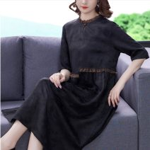 Dress Summer 2021 black S M L XL 2XL 3XL 4XL Mid length dress singleton  Long sleeves commute Loose waist lattice Socket routine 40-49 years old Type H Youranxu / youranxuan lady More than 95% Chiffon other Other 100% Pure e-commerce (online only)