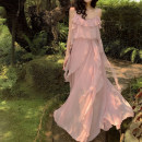 Dress Summer 2021 Pink S,M,L,XL longuette singleton  Sleeveless commute Crew neck High waist Solid color zipper Princess Dress camisole 18-24 years old Type X Other / other Korean version Frenulum 31% (inclusive) - 50% (inclusive) Chiffon