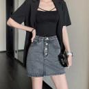 skirt Summer 2020 XS,S,M,L Blue spot, Grey Spot Short skirt commute High waist other Type A 18-24 years old FA20040220 other Other / other other Korean version