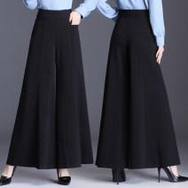 Casual pants Black, green M 2 feet / 27, L 2 feet 1 / 28, XL 2 feet 2 / 29, 2XL 2 feet 3 / 30, 3XL 2 feet 4 / 31, 4XL 2 feet 5 / 32, 5XL 2 feet 6 / 33 Spring 2021 trousers Wide leg pants High waist commute routine other Korean version pocket