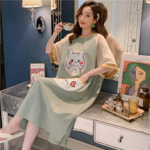 Nightdress Other / other 2106 love cat 160(M),165(L),170(XL),175(XXL) Sweet Short sleeve pajamas Middle-skirt summer Cartoon animation youth Crew neck cotton printing More than 95% pure cotton 200g and below