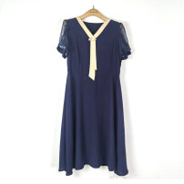Dress Spring 2021 Navy Blue 170/92A Mid length dress singleton  Short sleeve commute V-neck High waist puff sleeve Others Type A Other / other Ol style 51% (inclusive) - 70% (inclusive) polyester fiber