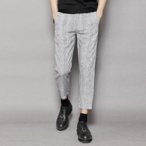 Casual pants Others Fashion City Flax grey S,M,L,XL,2XL routine Ninth pants Other leisure Self cultivation 6589-B51 summer youth tide 2018 Little feet Tapered pants hemp hemp Fashion brand More than 95%