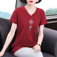 T-shirt M,L,XL,2XL,3XL,4XL Summer 2021 Short sleeve V-neck easy Regular routine commute cotton 86% (inclusive) -95% (inclusive) Korean version originality Solid color Embroidery