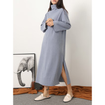 Women's large Winter of 2019 Blue, brown, black Large XL, 2XL, 3XL, 4XL, 5XL Dress singleton  commute easy thin Socket Long sleeves Solid color Korean version High collar cotton Oh, Sumi 31% (inclusive) - 50% (inclusive) longuette
