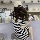Dress Summer 2020 Yellow blue stripe, red white stripe, rice black stripe S,M,L Middle-skirt singleton  Short sleeve commute Polo collar Loose waist stripe Socket routine Others Type H Other / other Korean version Open back, button