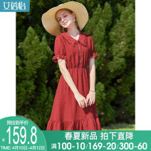 Dress Summer 2021 Yin red Yin red (pre sale) M L XL Mid length dress singleton  Short sleeve commute Elastic waist other Big swing puff sleeve 30-34 years old I believe you lady Pleated button 221SVIPB2093719-XYZ More than 95% polyester fiber Polyester 100%
