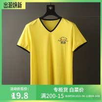 T-shirt Fashion City thin Others Short sleeve V-neck Self cultivation daily summer Cotton 100% middle age routine Business Casual 2018 Alphanumeric Embroidery