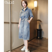 Dress Summer 2021 Denim blue M L Mid length dress singleton  elbow sleeve commute Polo collar Loose waist Solid color Socket A-line skirt routine Others 30-34 years old Type H Qiubi Korean version Embroidered pocket button More than 95% Denim cotton Cotton 100% Pure e-commerce (online only)