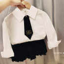 suit Other / other Tie, white shirt, college pleated skirt 90cm,100cm,110cm,120cm,130cm,140cm female spring and autumn college Long sleeve + skirt 2 pieces There are models in the real shooting nothing cotton