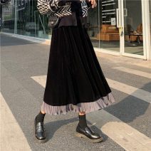 skirt Winter of 2019 Average size black Mid length dress commute High waist Type A 18-24 years old 51% (inclusive) - 70% (inclusive) other Other / other other