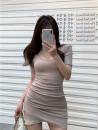 Dress Spring 2021 Gray, black, pink, light khaki Average size 7775#