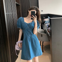 Dress Summer 2020 blue S, M Short skirt singleton  Short sleeve commute square neck High waist Solid color Socket puff sleeve 18-24 years old Type A Korean version 5169#