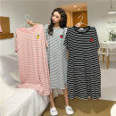Pajamas / housewear set female Other / other Average size Grey Stripe, black stripe, pink stripe cotton Short sleeve summer routine More than 95% longuette