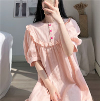 Pajamas / housewear set female Other / other Average size Pink cotton Short sleeve Sweet Leisure home summer routine Crew neck Solid color Socket More than 95% other printing 200g and below Middle-skirt