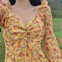 Dress Autumn of 2019 Yellow floral skirt S, M