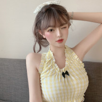 Fashion suit Summer 2020 S. M, average size Plaid top, white pleated skirt