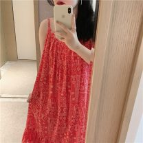 Nightdress Other / other Red, blue Average size Sweet camisole Leisure home Middle-skirt summer Geometric pattern youth cotton printing More than 95% Hemp cotton 200g and below