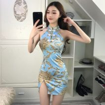 cheongsam Spring of 2019 S,M,L blue Sleeveless Short cheongsam Decor 18-25 years old Other / other 30% and below