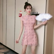 Dress Summer of 2019 White, pink, black S,M,L Short skirt singleton  Short sleeve commute stand collar High waist zipper A-line skirt routine Others 18-24 years old Type A Other / other Retro Splicing 30% and below Lace polyester fiber