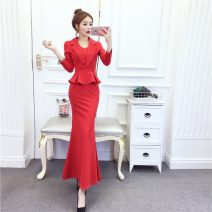 Dress Spring 2020 Rose, red, blue, black S,M,L,XL,2XL longuette singleton  Long sleeves commute V-neck High waist Solid color other other Others 18-24 years old Other / other Korean version three point one four 30% and below