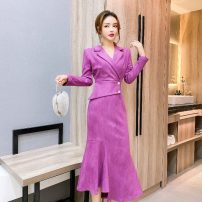 Dress Winter 2020 Orange, purple, green S,M,L,XL,2XL Mid length dress singleton  Long sleeves commute other High waist Solid color zipper Irregular skirt other Others 18-24 years old Type H Retro Button, zipper a12.2 30% and below other polyester fiber