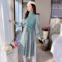 Dress Winter 2020 Red, green S,M,L,XL Mid length dress Fake two pieces Long sleeves commute Half high collar Socket other Others 18-24 years old Type A Korean version Splicing 30% and below