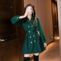 Dress Autumn 2020 Army green S,M,L,XL Middle-skirt singleton  Long sleeves commute tailored collar Solid color double-breasted A-line skirt bishop sleeve Others 25-29 years old Type A Ol style Eight point seven