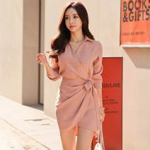 Dress Spring 2020 Pink S,M,L,XL Mid length dress singleton  three quarter sleeve commute V-neck High waist Solid color One pace skirt other Others Type A Korean version
